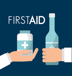 Hands holding alcohol bottle and medicine care vector