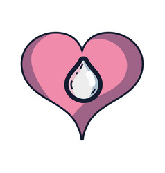 Heart with water drop inside and love symbol vector