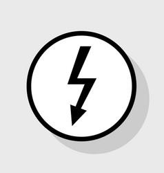 High voltage danger sign flat black icon vector