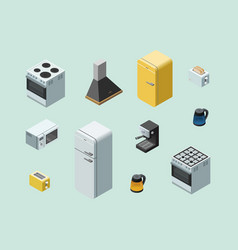 isometric set of home electric equipment vector image