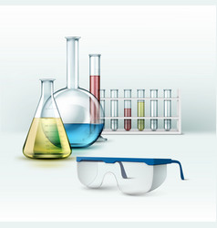 Laboratory flasks with glasses vector