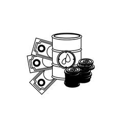 Monochrome contour with barrel petroleum and money vector