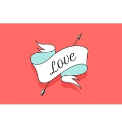 Old vintage ribbon banner with text Love in vector image vector image