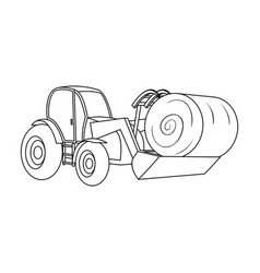 orange tractor with a ladle transporting hay bale vector image vector image