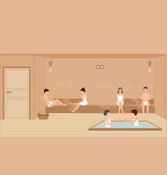 people wearing towels enjoys in sauna steam room vector image vector image