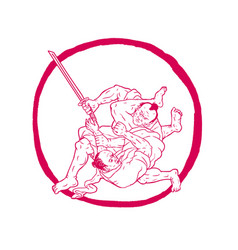 samurai jui jitsu fighting enso drawing vector image vector image