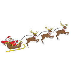 santa claus on a sleigh with a deer isolated on vector image