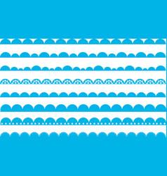 scallop border waves blue vector image vector image