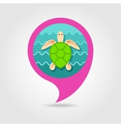 Sea turtle pin map icon summer vacation vector