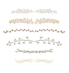 set of decorative doodle branches vector image vector image