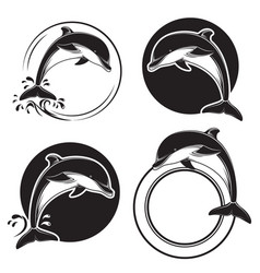 Set of vintage dolphin icons emblems and labels vector