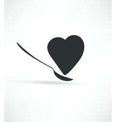 Spoon and heart icon vector