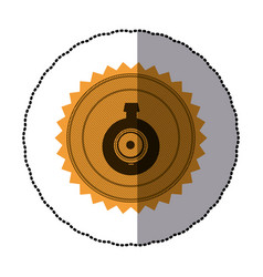 sticker of circular frame with contour sawtooth vector image