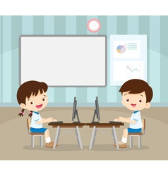 Students learning with computer vector