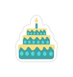 Stylish paper sticker on white background cake vector