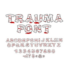 Trauma font crippled letters wrapped medical vector