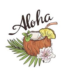 Tropic coconut cocktail hand drawn aloha vector