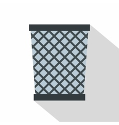 Wire metal bin icon flat style vector