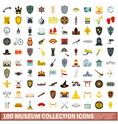 100 museum collection icons set flat style vector image