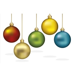 Color christmas ornaments hanging on gold thread vector