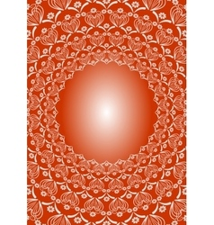 Folklore circular oriented white patterns on red vector