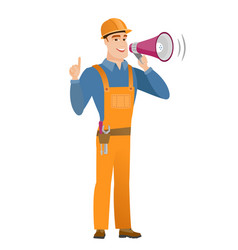 Young caucasian builder making announcement vector