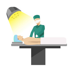 Medical operation process with doctor vector