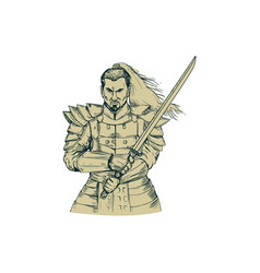 Samurai warrior swordfight stance drawing vector