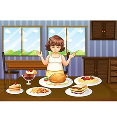 A fat lady in front of a table with many foods vector