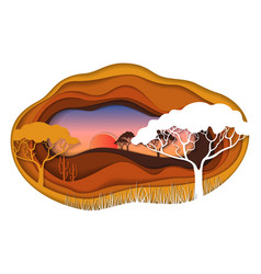 Paper art carving of african landscape vector