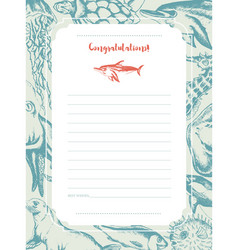 sea creatures - hand drawn template card vector image