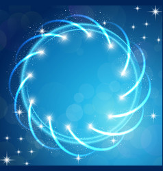 Sparkles blue background with stars round frame vector