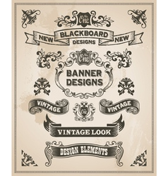 Vintage hand drawn design elements - banner set vector