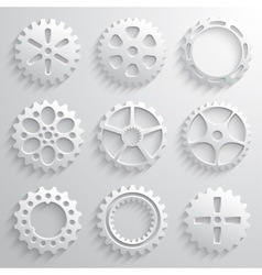 Gear wheels icon set nine 3d gears on a light gray vector