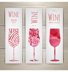 Set of art wine banners and labels design vector