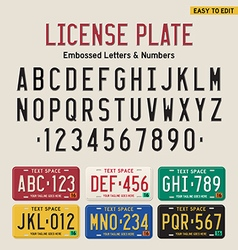3d license plate font and license plate set vector