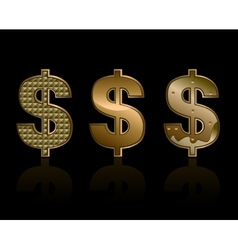 Three dollar signs vector image