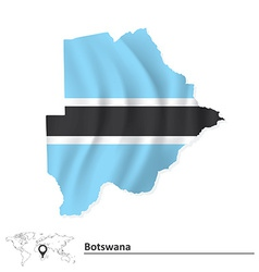 Map of Botswana with flag vector image