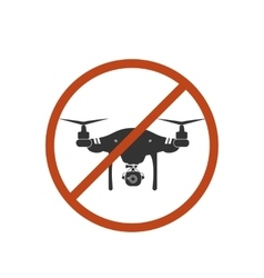 Drone warning icon silhouette prohibit air vector