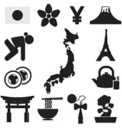 Set of japan symbol icons vector