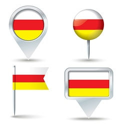 Map pins with flag of south ossetia vector