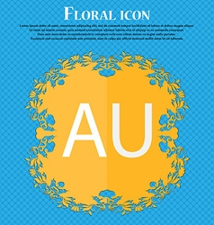 Australia sign icon floral flat design on a blue vector