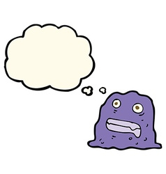 Cartoon slime creature with thought bubble vector