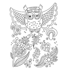 Line drawing of forest elements - owl flowers vector