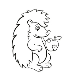 Little cute hedgehog holds an apple in the paw vector