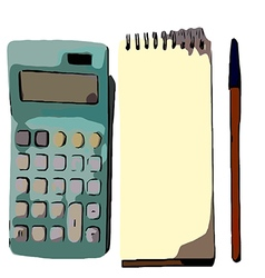 Calculator and pen vector