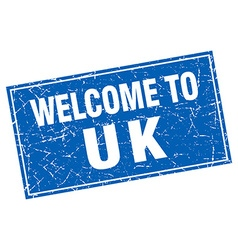 Uk blue square grunge welcome to stamp vector