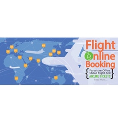 Cheap flights advertising 1500x600 pixel banner vector