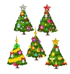 Five green christmas trees on white background vector