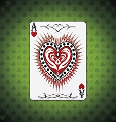 Ace hearts poker cards green background vector